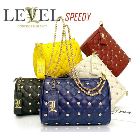 Foto Produk HANDBAGKU TAS LEVEL SPEEDY STUD DIAMOND SLING BAG SELEMPANG CLUTCH dari arkadiaserbada
