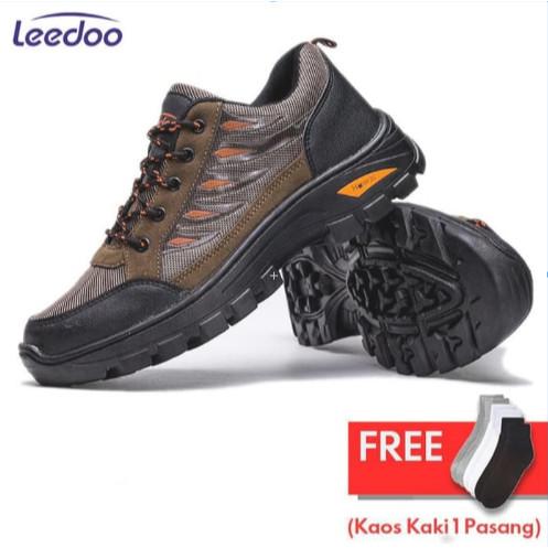 Foto Produk Leedoo Sepatu Hiking Gunung Pria Non-Slip Sepatu Outdoor Pria MH201 - Cokelat, 42 dari Leedoo