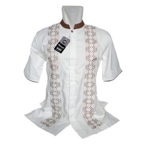 Foto Produk baju koko tangan pendek berbis bahan katun harga murah - Putih, M dari alesya collection