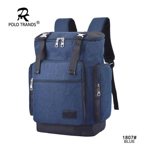 Foto Produk Polo Trands Tas Ransel Backpack Trendy Design 1807 - Tas Punggung Pria - Biru dari Polo Trands Official