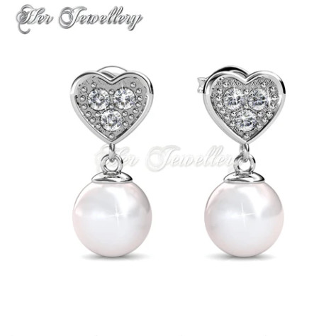Foto Produk Pearl Heart Earrings - Anting Crystal Swarovski by Her Jewellery dari Her Jewellery