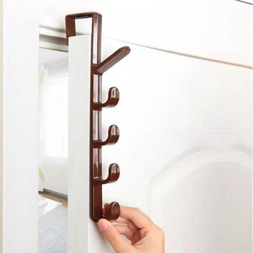 Foto Produk Gantungan Portable Pintu Lemari/ Portable Door Hook Hanger - Cokelat dari Home Diaries