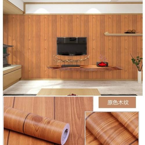 Foto Produk Wallpaper stiker motif papan kayu coklat muda list hitam dari wallpaper_sip