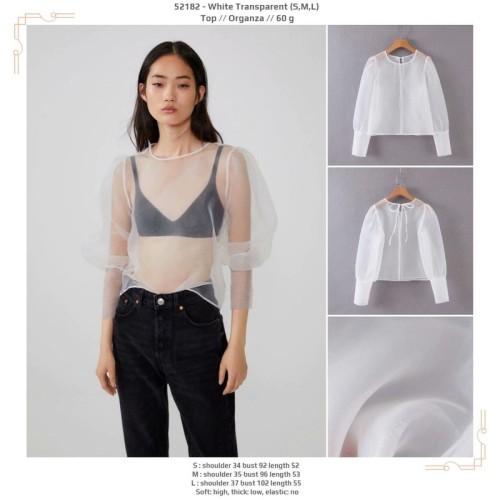Foto Produk 52182 White Transparent Top / Blouse Outer Putih dari XineShop