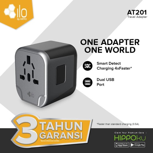 Foto Produk ILO ADAPTER AT201 SMART DETECT CHARGING 2 Ports USB / TRAVEL ADAPTER dari iLo Official Store