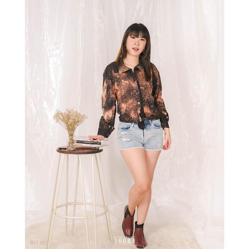 Foto Produk Bleach Shirt Kemeja Wanita BL1187 - Hitam dari MyYoora Official Store