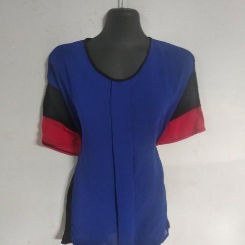 Foto Produk Blouse biru merah chiffon size xxxl dari youarebeautifulshop