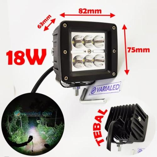 Foto Produk 18W LED KOTAK PUTIH Sorot Tembak Fog Lamp Offroad Mobil Motor 12V 24V dari variaLED