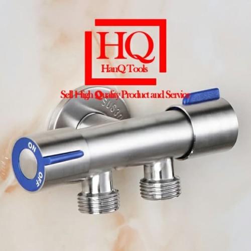 Foto Produk Keran Air Cabang Double Stop Kran Shower Mandi Selang Mesin Cuci Tembo - Standart dari HanQ Tools