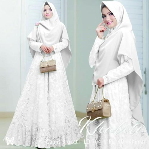 Foto Produk Syari Bergo Gamis Khalila Brukat Putih dari HER'Z SHOP