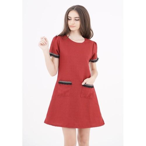 Foto Produk Tweed Combi Dress Red - S dari Voerin Official