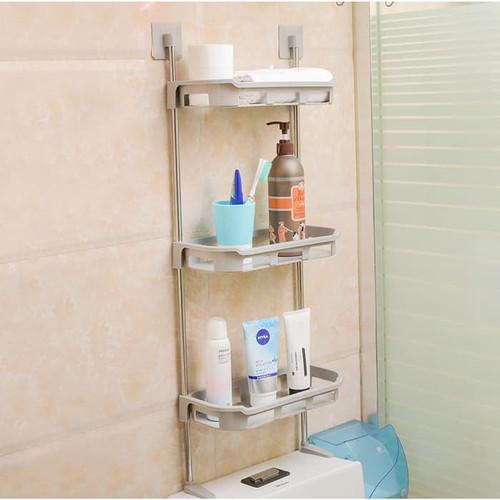 Foto Produk Rak Toilet 3 Susun Rak WC Organizer WC Tissue Sabun Kloset Kamar Mandi - Cream dari Zakka Store