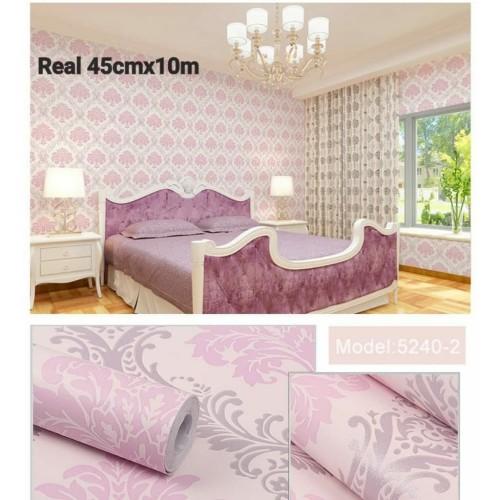 Foto Produk Home Wallpaper Sticker Dinding Batik Pink - 45cm x 10 m dari homewallpaperr