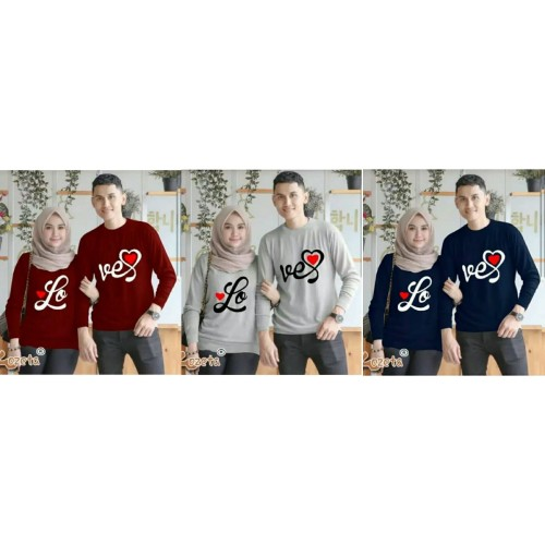 Foto Produk Sweater Couple Lp Font Love dari Wallsticker shop