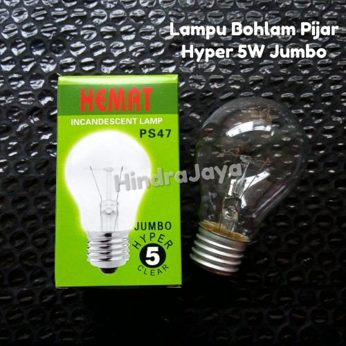 Foto Produk Lampu Bohlam Pijar 5W Hyper Jumbo Merk Hemat dari Hindrajaya