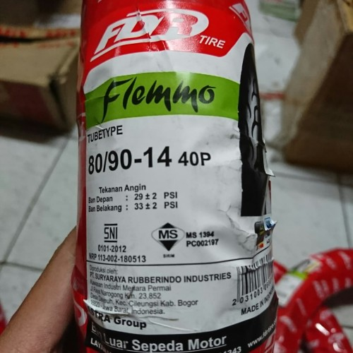Foto Produk Ban FDR Flemmo 80/90 ring 14 ban luar motor matic beat vario mio dari Battery Accu Aki Bandung