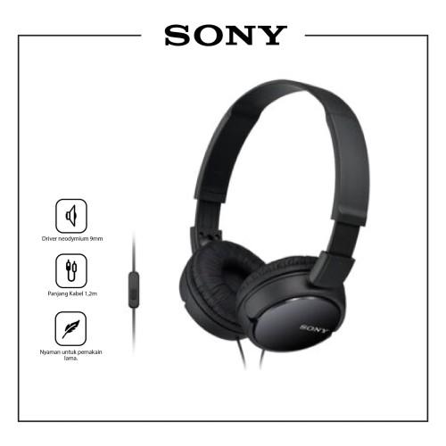 Foto Produk SONY MDR-ZX110AP Black On Ear Headphone / ZX110 / ZX-110AP / ZX 110 AP dari Sony Audio Official