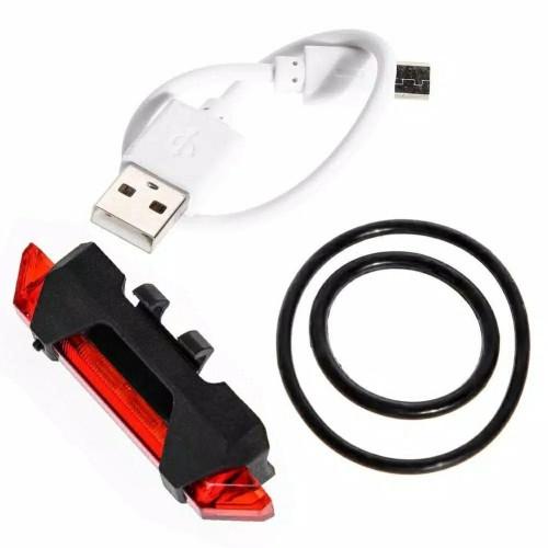 Foto Produk Lampu Sepeda Dengan USB, Tanpa Baterai - Merah dari sixteengear