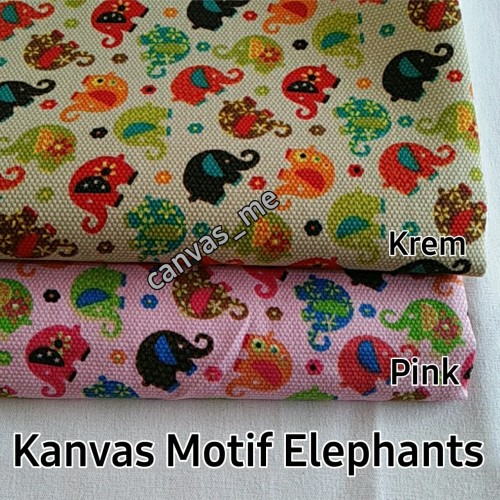 Foto Produk Kain Kanvas Elephant : Krem, Pink, Biru - Krem dari canvas_me