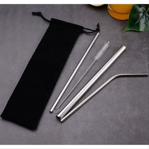 Foto Produk HG-POUCH Set 4pcs FREE 1 Sedotan Stainless Steel 3 Sedotan 1 Sikat 1 dari Hitz Gallery