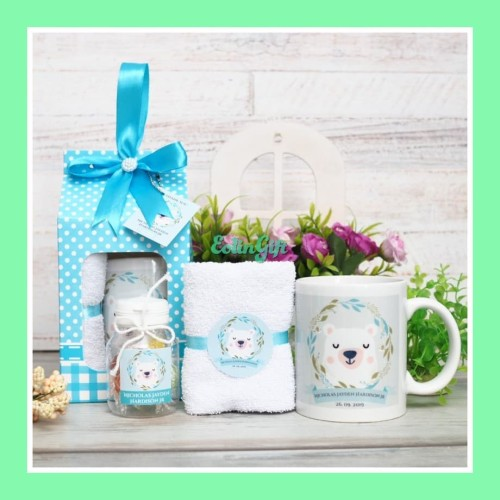 Foto Produk souvenir ulang tahun Mahneera 1/hampers/tasyakuran/aqiqahan/mug/handuk dari Eolin Gift