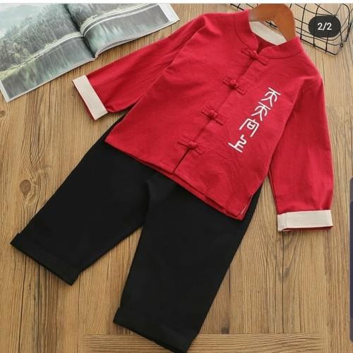 Foto Produk Cheongsam Anak Laki MUrah Baju Imlek Merah Congsam Oriental Baju Katun - merah no 100 dari MadisonShop