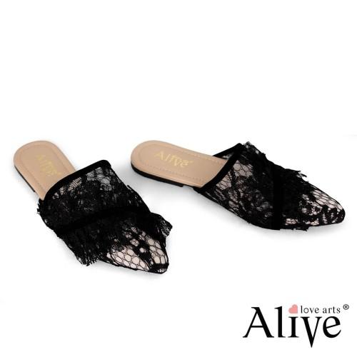 Foto Produk Alivelovearts Xiumin Sandal Lace Flat Mules Brukat Wanita - Hitam, 37 dari AliveLoveArts