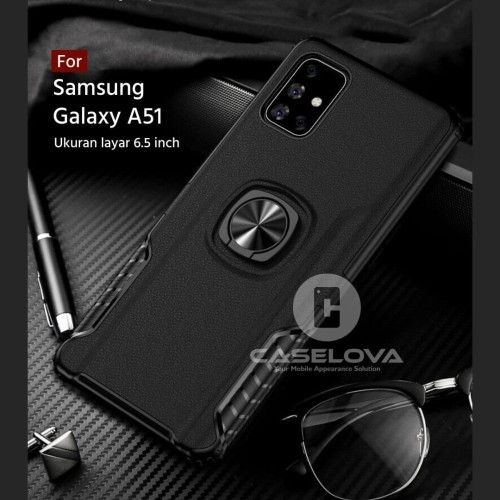 Foto Produk Case Samsung Galaxy A51 Hardcase Ring Carbon Thunder - Hitam dari Caselova Store