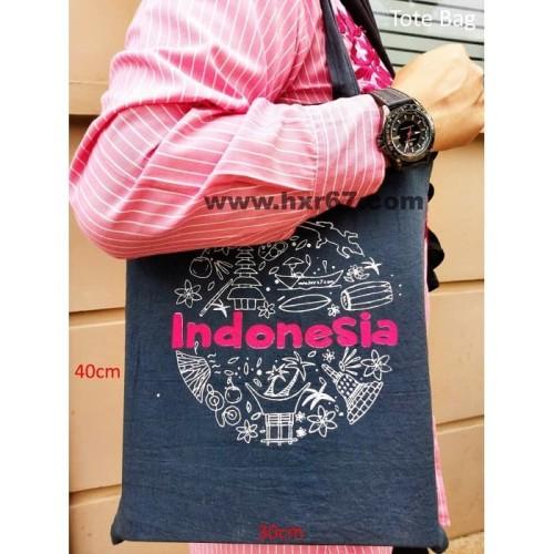 Foto Produk Souvenir Khas Indonesia Tote Bag Tas Kain Hitam dari HNR67