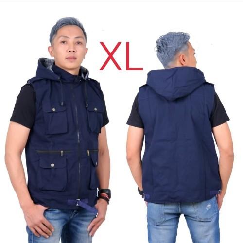 Foto Produk jaket parka rompi pria kanvas XL navy biru dongker dari Key Distro Bdg