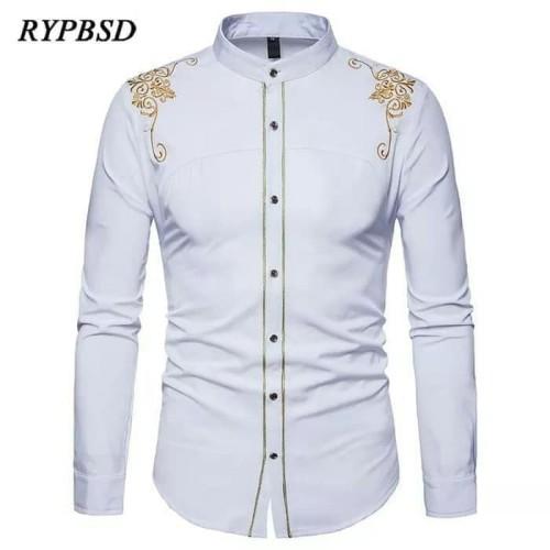 Foto Produk Baju Kemeja Koko Bastile Putih Bordir Batik Imlek Motif Cina Pria dari Sang_Fajar