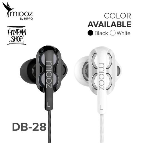 Foto Produk Headset Hippo Miooz DB-28 DB28 Dual Dynamic Drive Handsfree Earphone dari PAMPAM SHOP