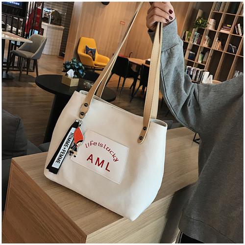 Foto Produk TS112 Korea AML Canvas Women Shoulder bag / Tas Bahu Wanita - Putih dari EnnWen Online Store