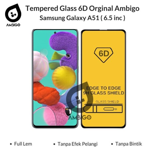 Foto Produk Tempered Glass 6D Samsung Galaxy A51 Full Cover Color Ambigo - Hitam dari Jagonya Case
