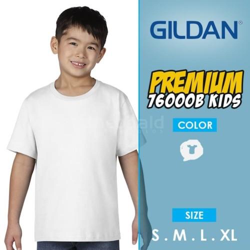 Foto Produk KAOS POLOS GILDAN 76000B Youth Premium Kids ( WHITE, SIZE XS-XL ) dari Kaos Polos Theobald