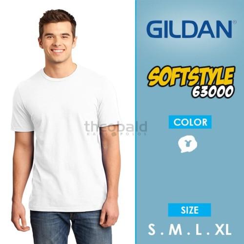 Foto Produk KAOS POLOS GILDAN 63000 Softstyle (WHITE, SIZE XS-XL ) dari Kaos Polos Theobald