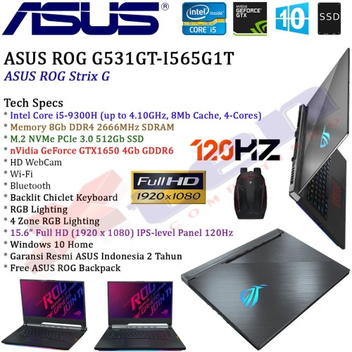 "Foto Produk ASUS ROG G531GT-I565G1T - i5-9300H 8Gb 512Gb GTX1650 4Gb 15.6"" FHD Win dari XTen Computindo"