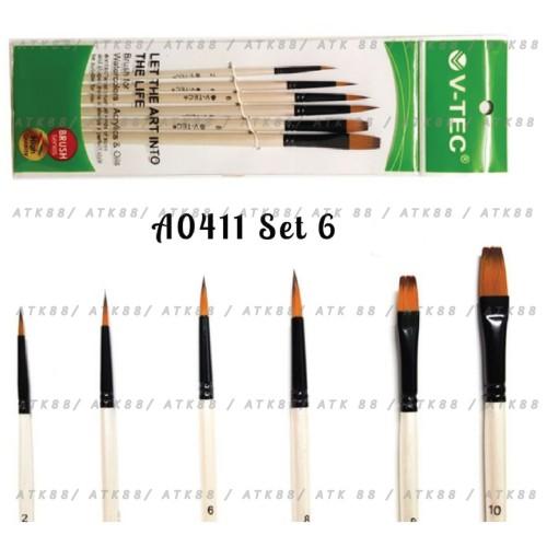 Foto Produk V-Tec Brush A0411 Set 6 / Kuas Lukis Set isi 6 / VTEC Artist Brush dari Pusat Grosir ATK 88
