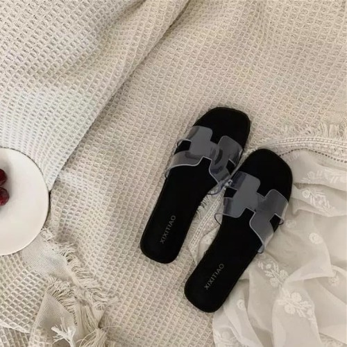 Foto Produk Sandal slop Hermes flat mika01 Rubber clear sandal wanita - Hitam, 37 dari RAY_SHOP09