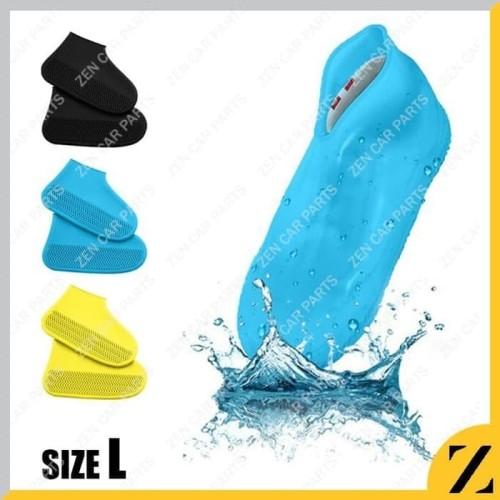 Foto Produk Cover Sepatu Karet L Anti Air sarung jas Waterproof Shoes silikon - Hitam dari Zen Car Parts