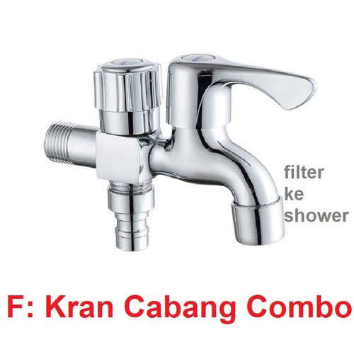 Foto Produk Kran Cabang Engkol Keran Shower Cabang 2 Kran Tembok Kamar Mandi 2 Way - Cabang Kombo dari Rumix