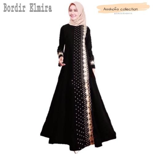 Foto Produk abaya gamis arab /busana muslim / bordir nawal - Hitam, L dari GrosirAbaya