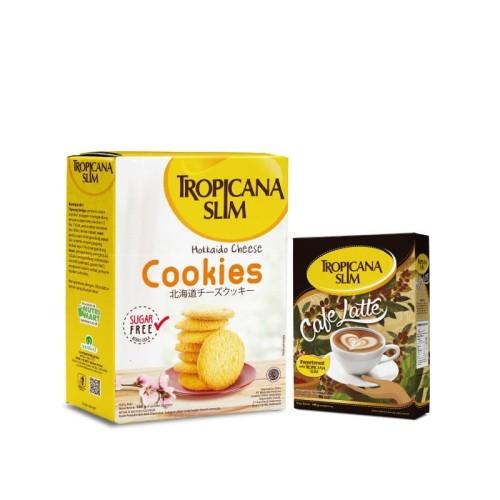 Foto Produk Tropicana Slim Hokkaido Cheese Cookies + Cafe Latte (10 Sch) dari NutriMart