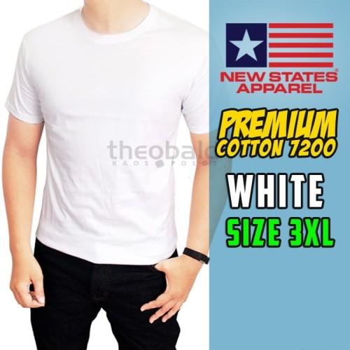 Foto Produk Kaos Polos NSA Premium Cotton T-shirt 7200 ( WHITE, SIZE 3XL ) dari Kaos Polos Theobald