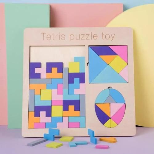 Foto Produk Mainan Edukasi Anak Puzzle Kayu Tetris ~ PUZZLE TETRIS TOYS dari lovely kayy