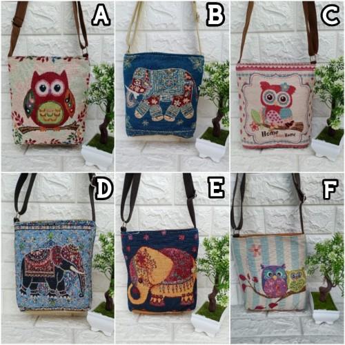 Foto Produk Tas thailand selempang import gajah / sling bag bangkok souvenir gift dari tas thailand grosir