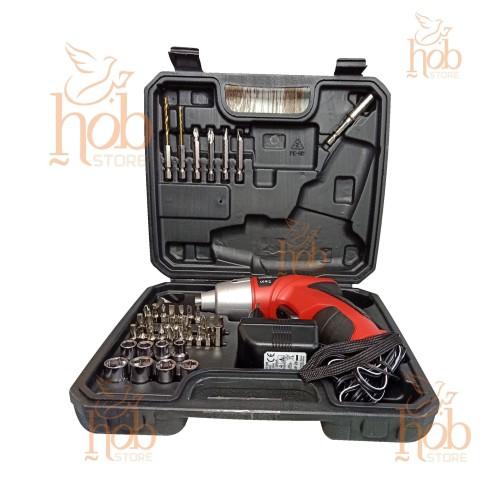 Foto Produk Obeng Listrik Bor Cordless Electric Screwdriver Set 4.8V &45 Mata Baut dari HOB Store