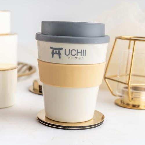 Foto Produk UCHII Travel Coffee Cup Hot Cold Handle Lid Gelas Mug Kopi Black Grey dari uchii store