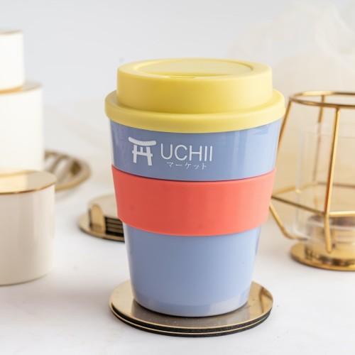 Foto Produk UCHII Portable Coffee Cup Reusable Handle Lid Gelas Kopi Yellow Purple dari uchii store