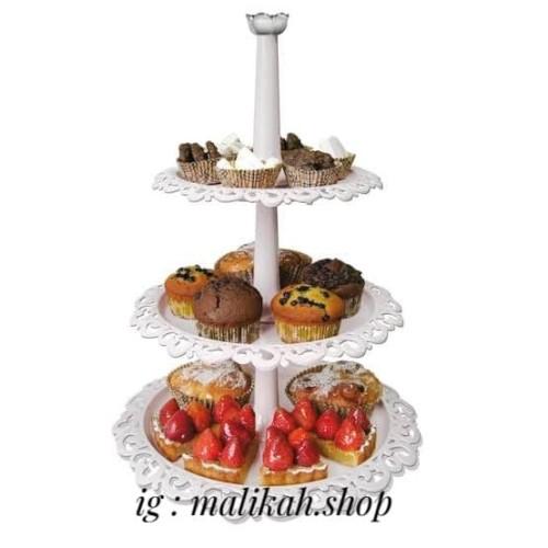 Foto Produk White Cake Tier / 3 Tier Fountain Cupcake Cake Stand Arniss - Putih dari Malikah Shop